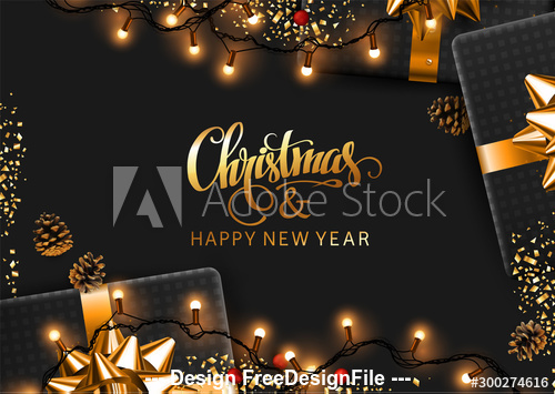 Black New Year background and gifts vector
