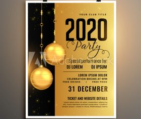 Black and yellow background new year party flyer vector