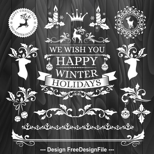 Black background christmas badges white vector