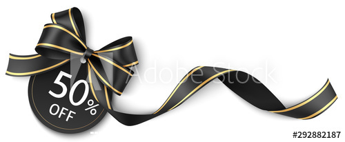 Black bow decoration sale card vector