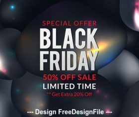 Black friday sale poster with black balloons background vector
