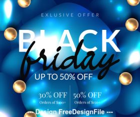 Black friday sale with blue balloons background vector