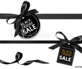Black ribbon and sale tag vector