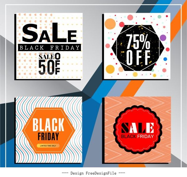 Black friday backgrounds colorful modern illusion decor set vector