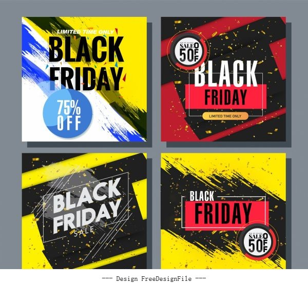 Black friday posters templates modern colorful grunge dynamic illustration vector