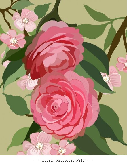 Blooming flora painting colorful retro vector