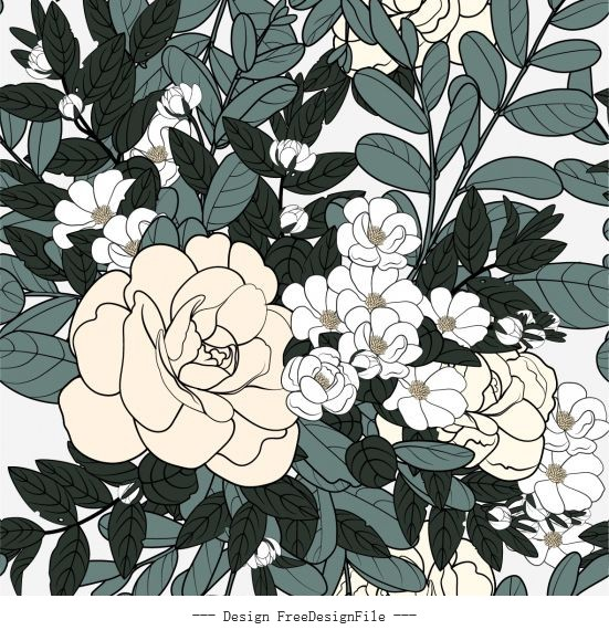 Blooming flower painting classical handdrawn vector