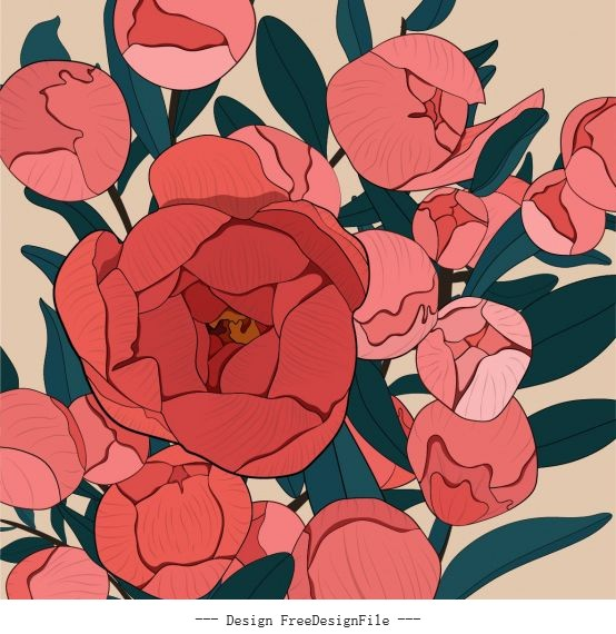 Blooming flowers painting colored vector