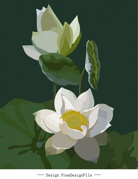 Blooming lotus painting dark colored retro vector