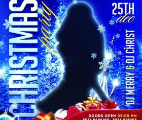 Blue Christmas Party Flyer Psd Template