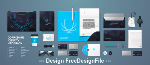 Blue and black background corporate branding identity template vector