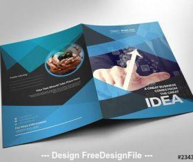 Blue and black presentation folder layout vector