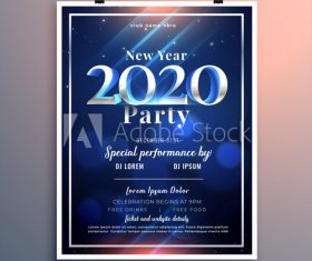 Blue background new year party flyer vector
