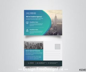 Blue gradient postcard layout vector