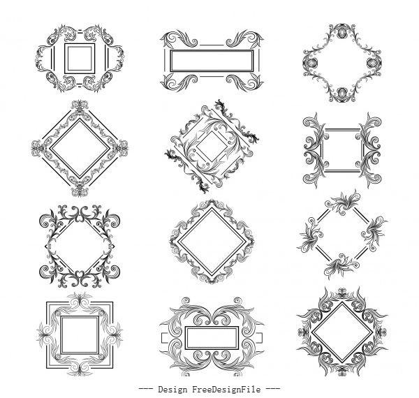 Border templates elegant symmetrical decor vector