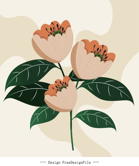 Botany painting blooming colored vector