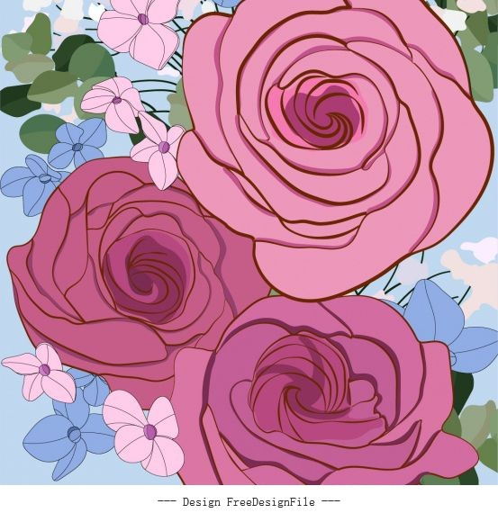 Botany painting classical closeup handdrawn vector
