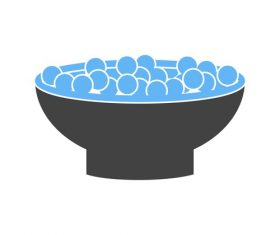 Bowl of cranberries Icons vector