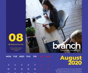Branch Assurance Wall Calendar 2020 vector