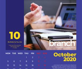 Branch cover calendar 2020 vector