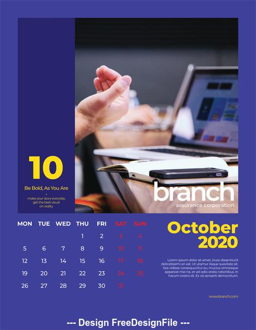 Branch cover calendar 2020 vector