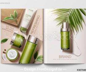 Brand skin care magazine vector template
