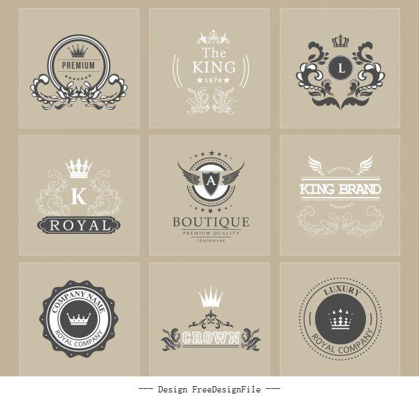 Brand logotypes retro royal theme calligraphic vectors