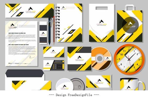 Branding idendity sets modern bright yellow white vector