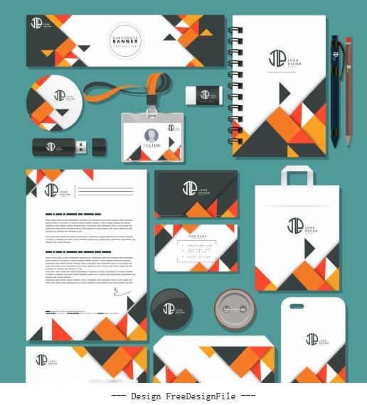 Branding identity sets abstract modern colorful geometric vector