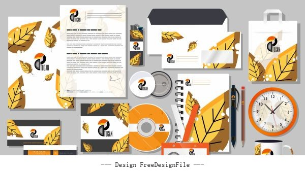 Branding identity sets autumn leaf vector