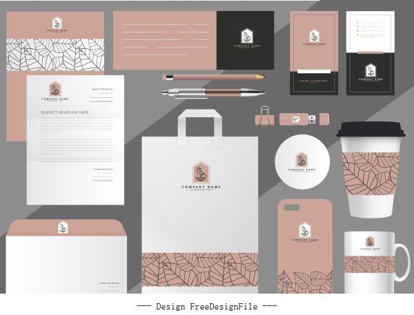 Branding identity sets classical handdrawn flat leaves decor vectors