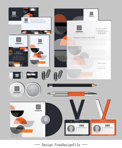 Branding identity sets flat half circles decor vectors material