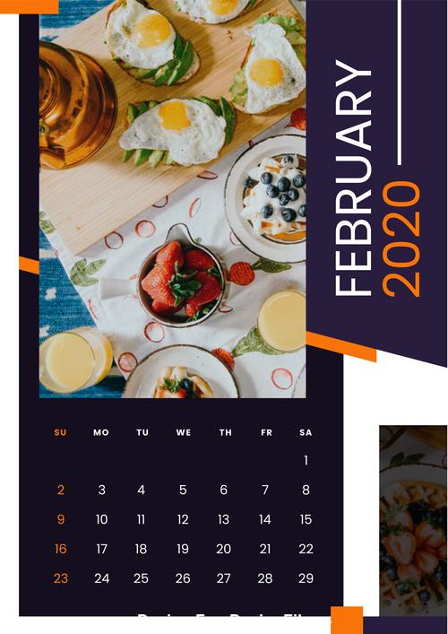 Breakfast gourmet 2020 calendar vector