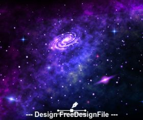 Bright spiral galaxy space background vector