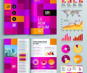 Brochure template design information vector