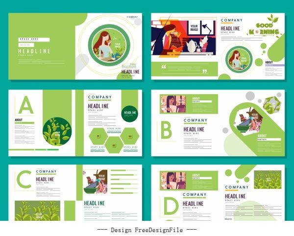Brochure templates healthy life theme bright green white vector set