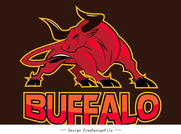 Buffalo logo black red vector