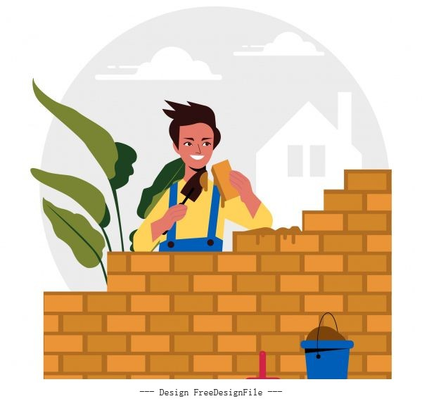 Builder work painting colored cartoon vector
