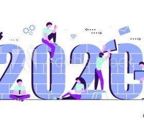 Building 2020 cartoon illustration vector
