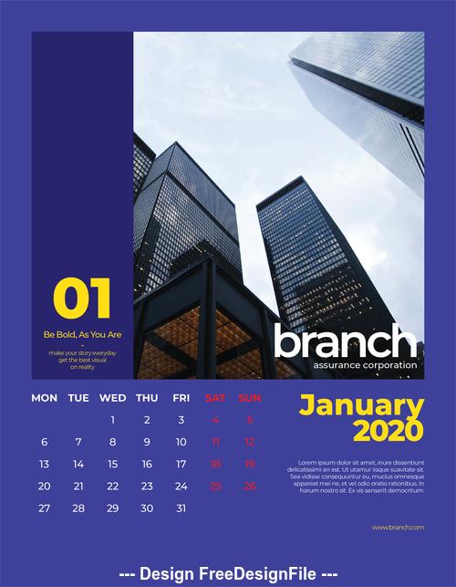 Building cover calendar 2020 vector