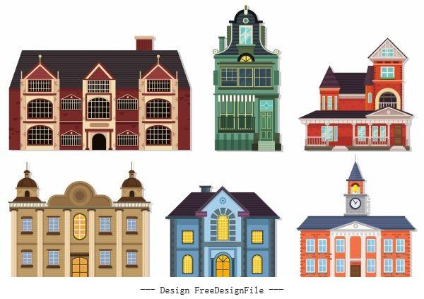 Buildings icons european architecture vector