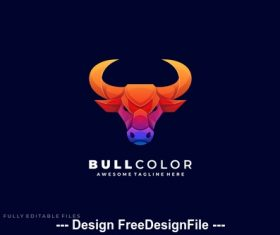 Bull head color gradient logo template vector