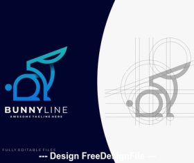 Bunny color line logo template vector