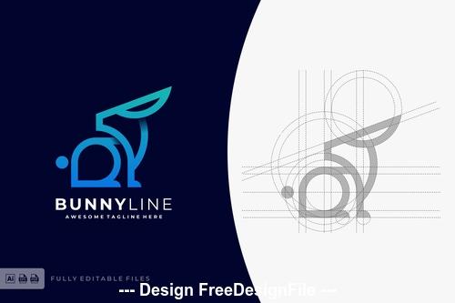 Bunny color line logo template vector