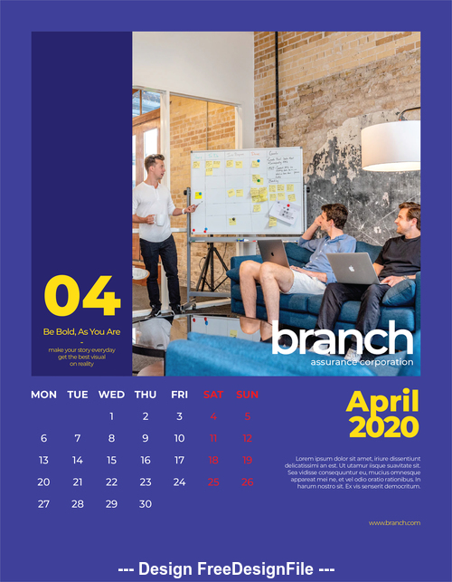 Business conference cover calendar 2020 vector
