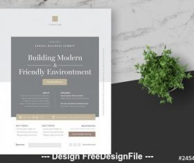 Business event flyer with grey vector