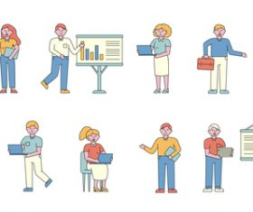 Business lineart people character vector