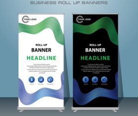 Business roll up banners in vector