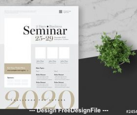 Business seminar flyer with gold vector