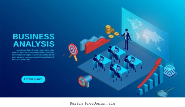 character creative interactive workspace development workplace infographic analysing strategy engine flat isometric vector